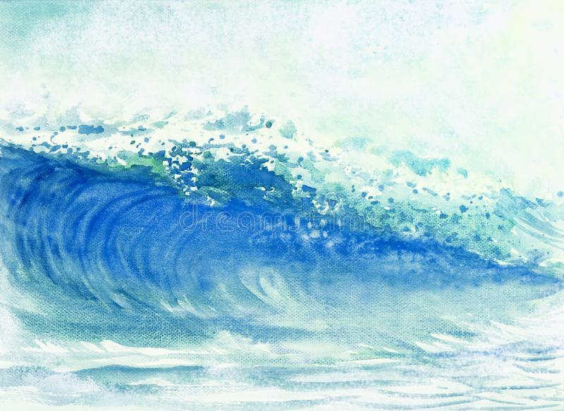 绘风暴的大海波浪水彩 向量例证