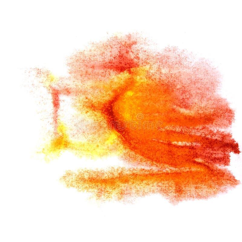绘飞溅墨水污点红色,橙色水彩一滴斑点刷子w 皇族释放例证