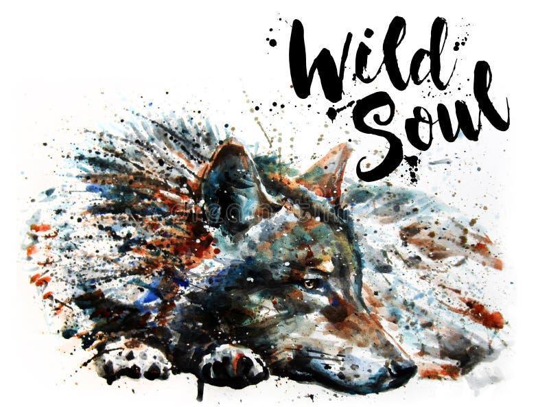 绘食肉动物的动物狂放的灵魂的狼水彩 向量例证