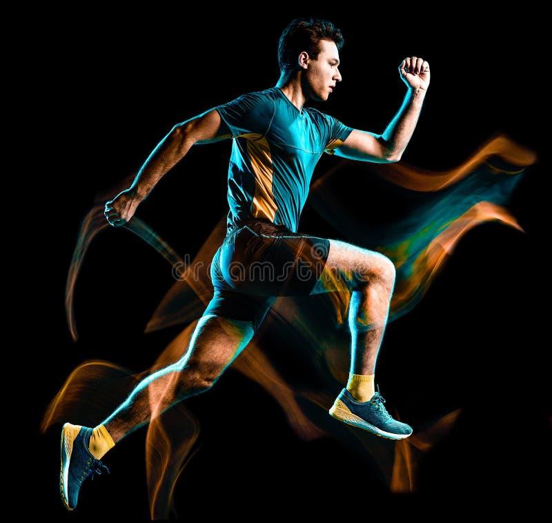 绘黑背景的赛跑者连续慢跑者跑步的人被隔绝的光 图库摄影