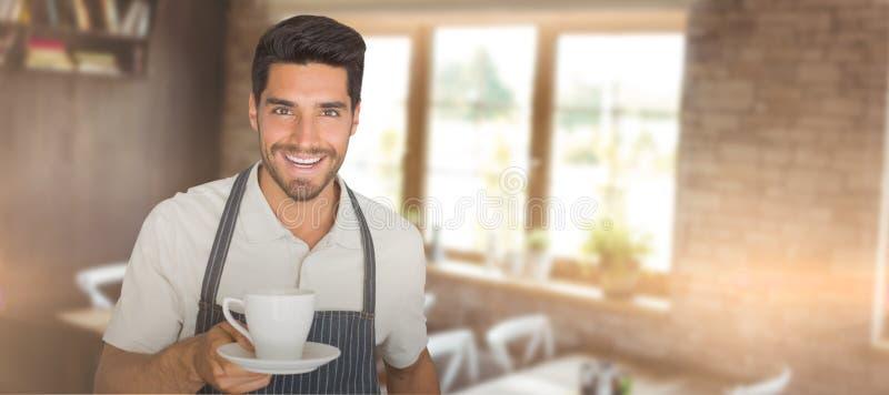 给一杯咖啡的侍者的综合图象 免版税库存照片