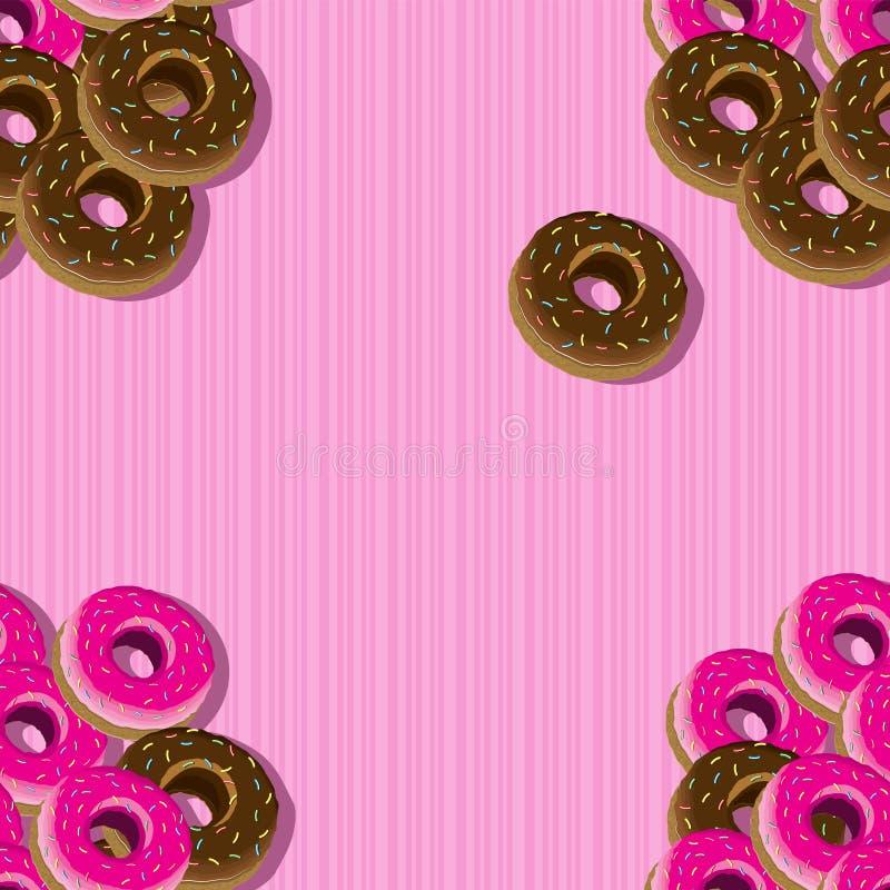 给上釉的油炸圈饼的无缝的样式在桃红色镶边背景的 r 向量例证
