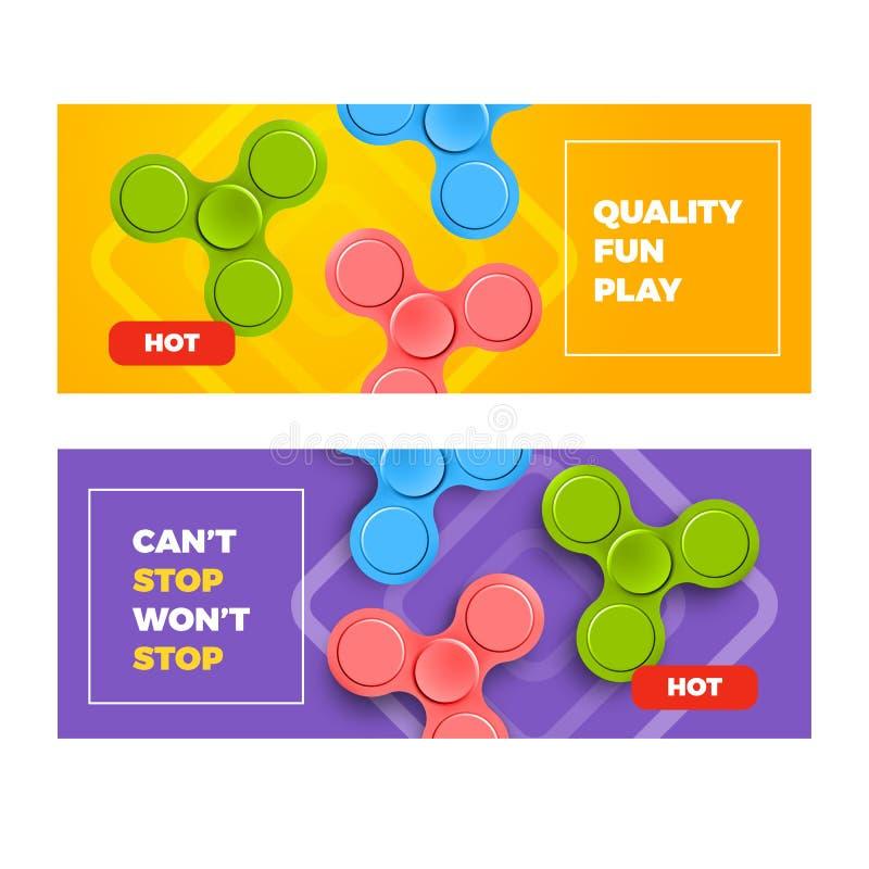 给与坐立不安锭床工人的横幅做广告 模板滑稽的海报 普遍的玩具的例证 库存例证