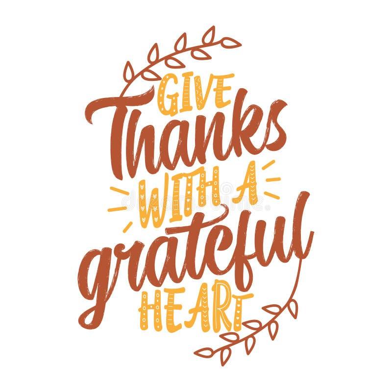 给与感恩的心脏的感谢 库存例证