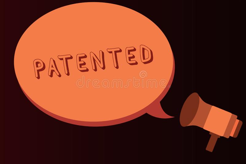 给予专利的概念性手文字陈列 企业照片文本发明或过程保护了正确的正式文件 向量例证