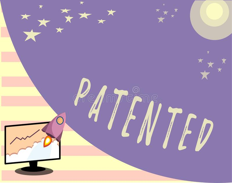 给予专利的概念性手文字陈列 企业照片文本发明或过程保护了正确的正式文件 皇族释放例证