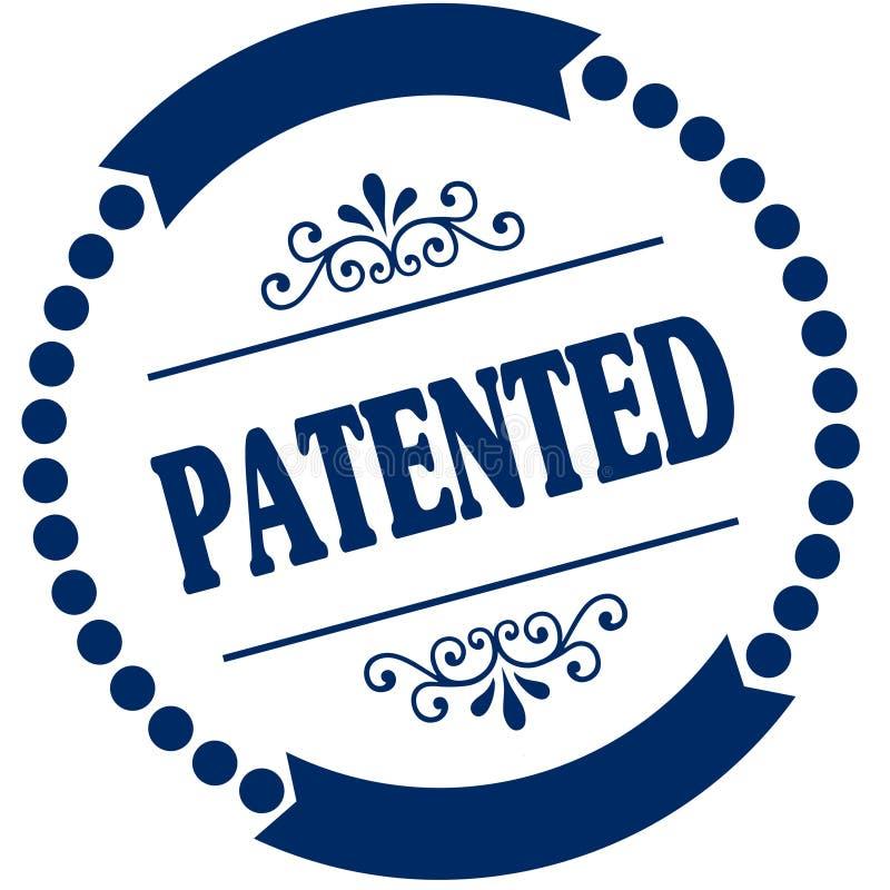 给予专利的蓝色封印 库存例证