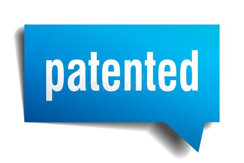 给予专利的蓝色3d讲话泡影 库存例证