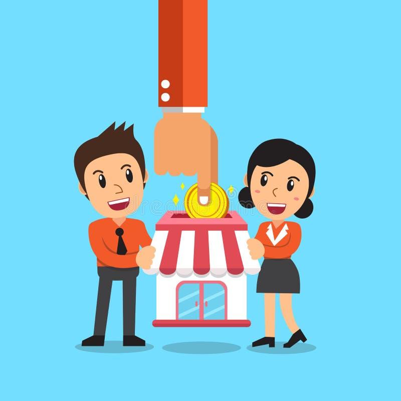 给予企业投入硬币的概念手特权在有商人和女实业家的商店 向量例证