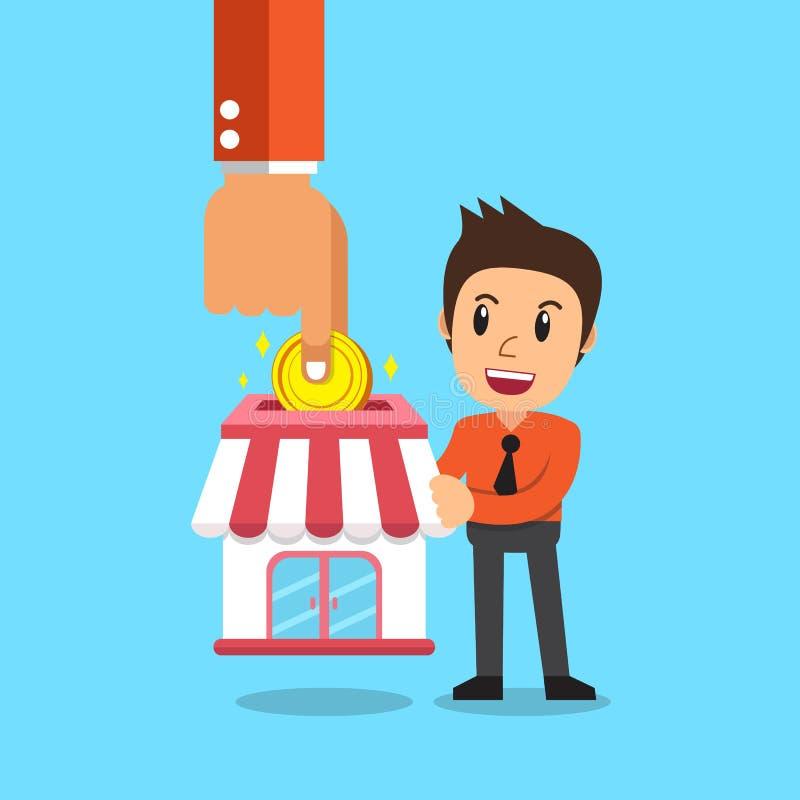 给予企业投入硬币的概念手特权在有商人的商店 皇族释放例证