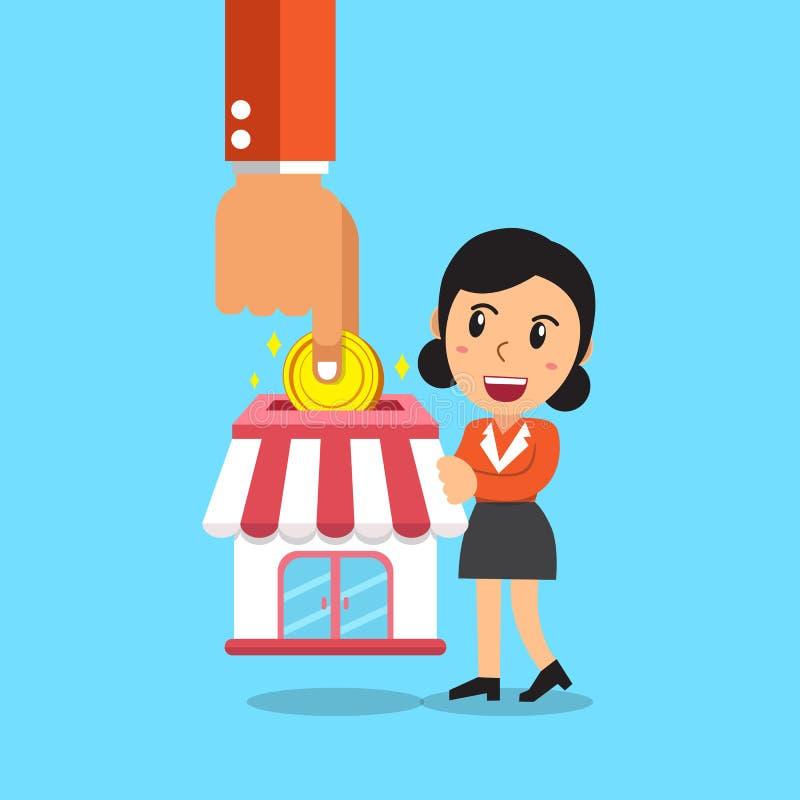 给予企业投入硬币的概念手特权在有女实业家的商店 库存例证