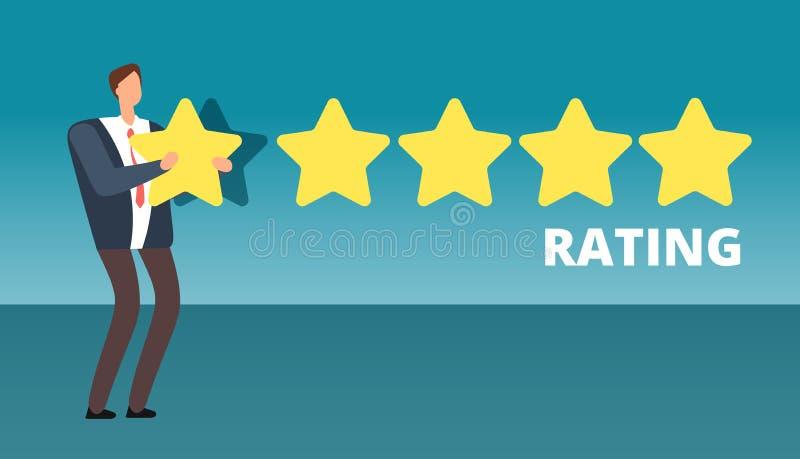 给五个星等级的商人 最佳的工作质量和顾客服务反馈导航概念 向量例证