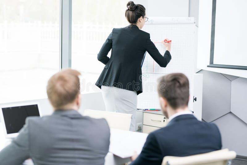 给介绍的年轻女实业家在Whiteboard 免版税库存照片