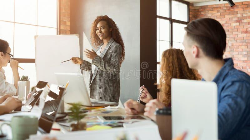 给介绍的快乐的女实业家小组 免版税库存照片