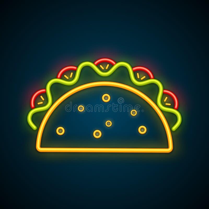 给传统墨西哥的炸玉米饼霓虹灯广告做广告 库存例证