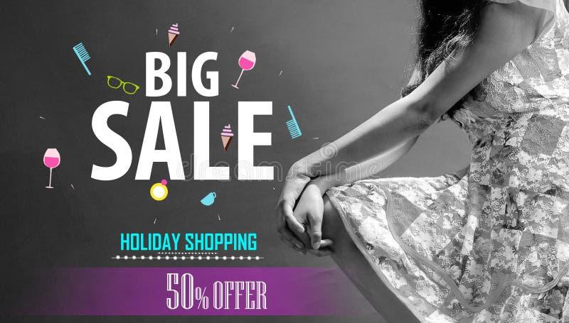 给假日购物的概念大销售横幅背景做广告 营销海报,网页 向量例证