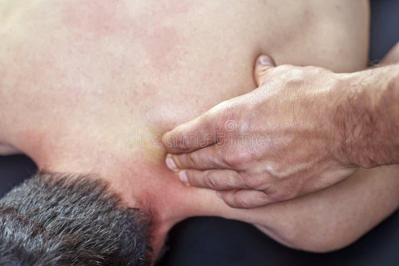 给后面按摩的生理治疗师 按摩脊柱治疗者,整骨疗法,手工疗法,针压法 库存图片