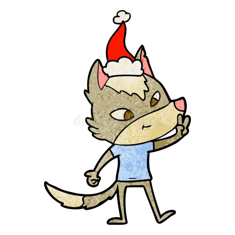 给和平标志的狼的友好的织地不很细动画片戴圣诞老人帽子 库存例证