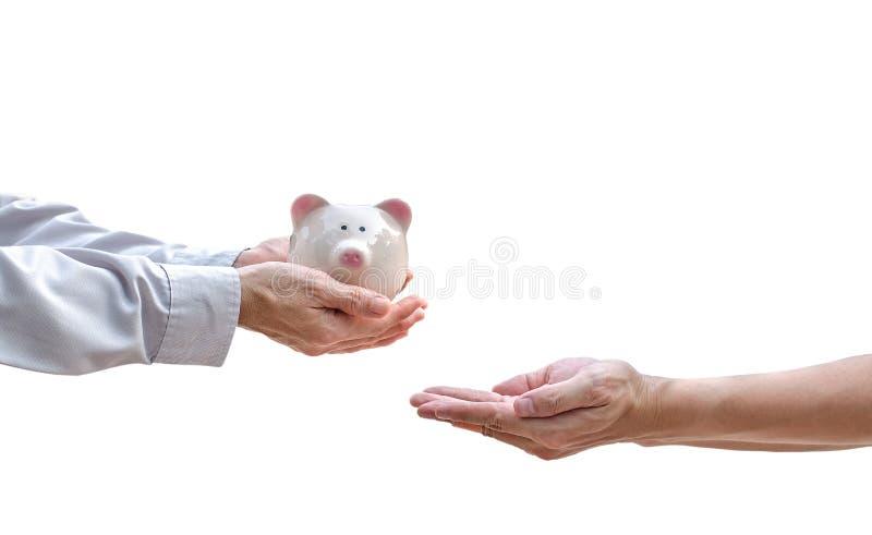 给在公园的手存钱罐户外 免版税库存图片