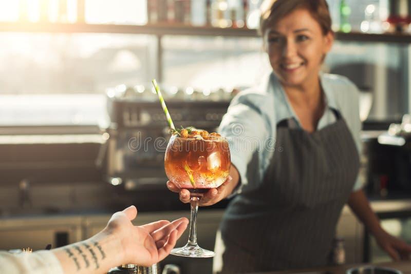 给在咖啡馆的老练的barista酒精鸡尾酒 库存图片