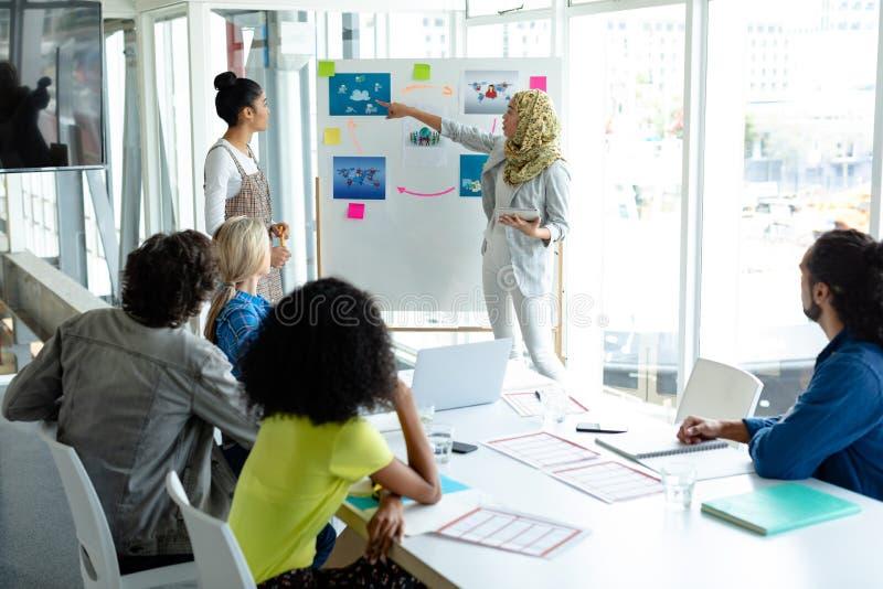 给在活动挂图的hijab的女实业家介绍在见面期间在一个现代办公室 免版税库存照片
