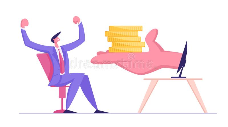 给堆金黄硬币的巨大的人的棕榈坐在显示器的愉快的商人 自由职业者,事务 皇族释放例证