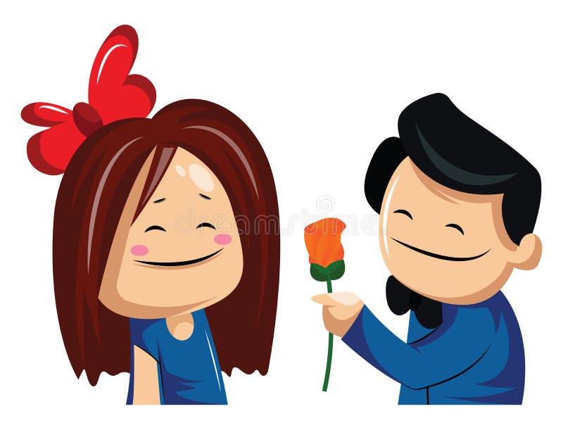 给女人送玫瑰的男子矢量图插图 向量例证