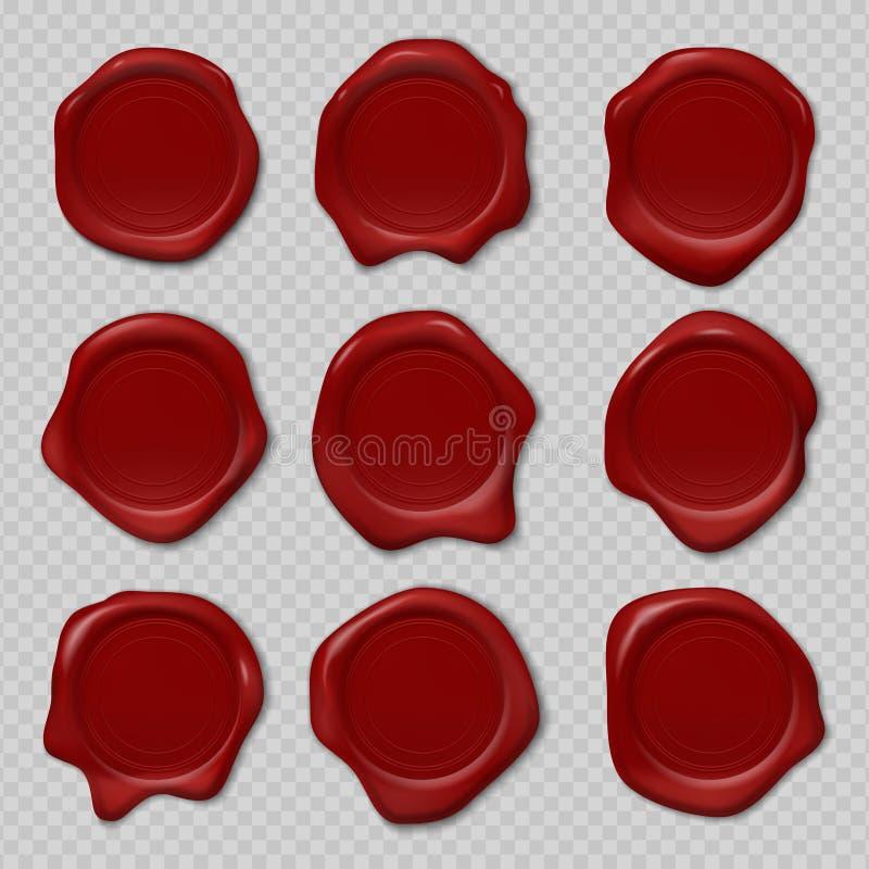 给密封打蜡 橡胶证明邮票,现实红色蜡烛蜡封印,皇家中世纪压印的邮票 传染媒介3d老标签 库存例证