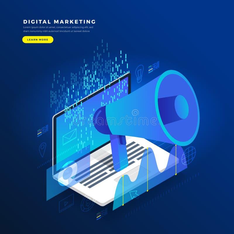 给平的设计观念数字式的营销网上platfor做广告 向量例证