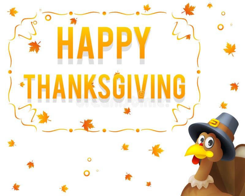 给感谢保佑收获假日在香客帽子愉快的感恩天3d动画片设计的庆祝火鸡 皇族释放例证
