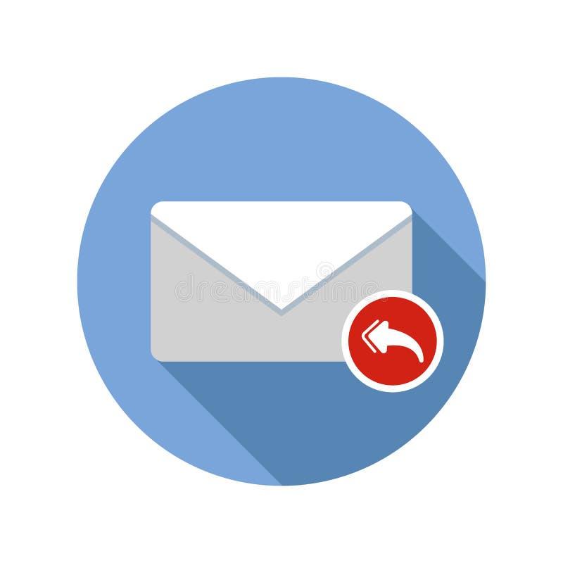 给所有接收象的邮件回复 与长的阴影的电子邮件象 库存例证