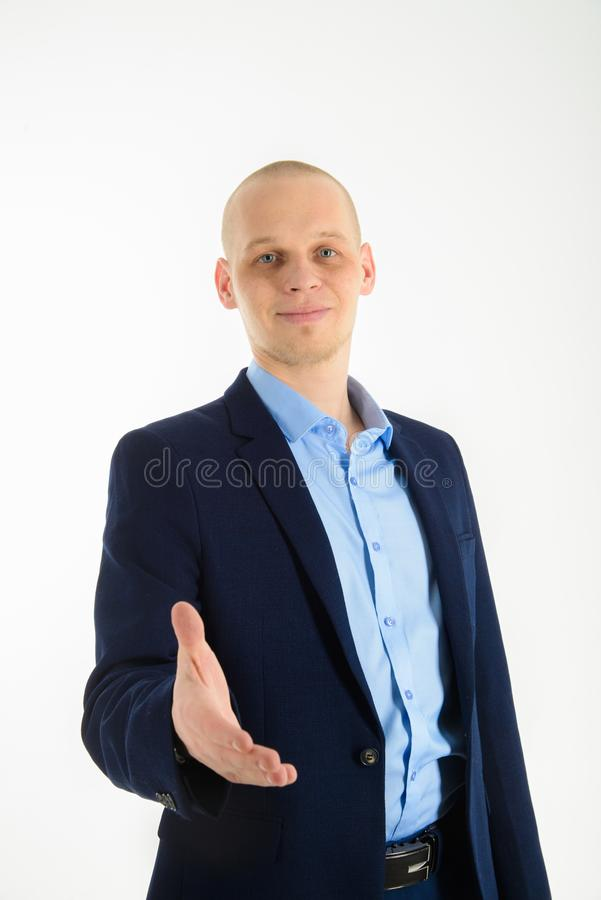 给握手的年轻白种人商人手,隔绝在白色 库存照片