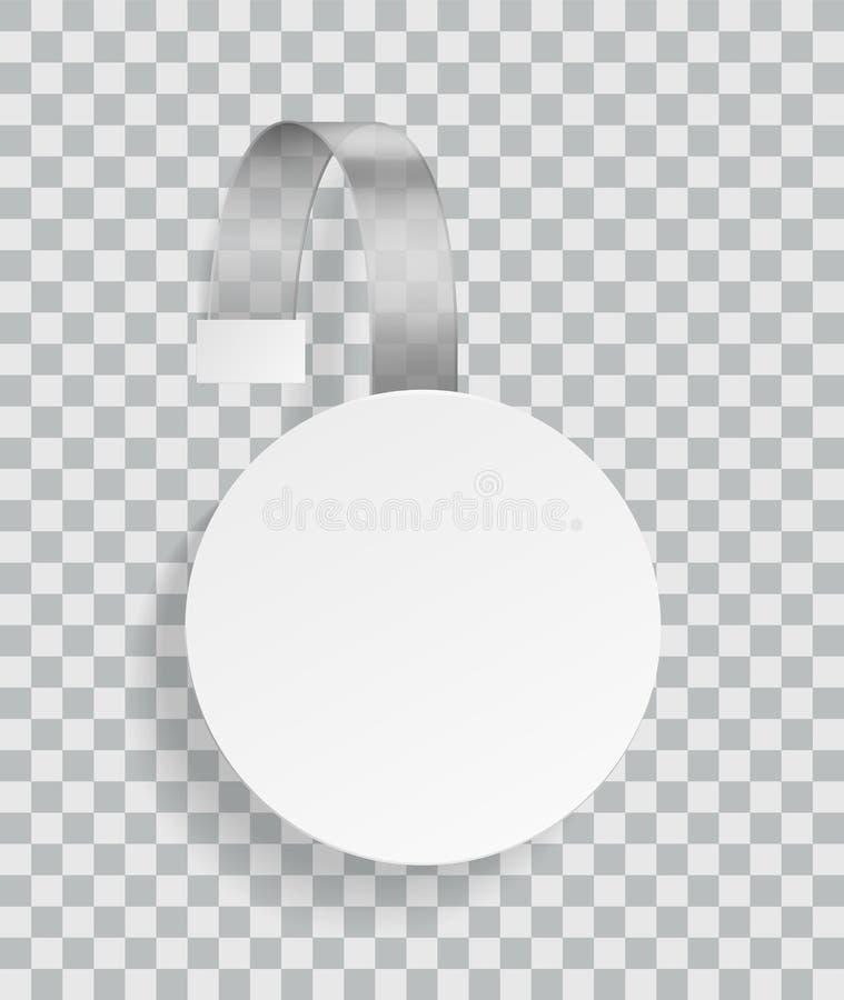 给晃摇物做广告 商人的促进塑料白色被环绕的折扣空的贴纸在有阴影的超级市场 皇族释放例证