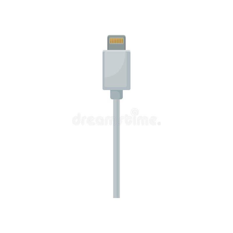 给有白色缆绳的充电和数据连接器打电话 USB通用串形总线连接器 平的传染媒介设计 皇族释放例证