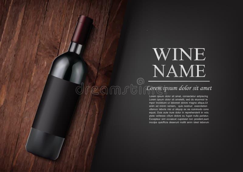 给横幅做广告 一个现实瓶与黑标签的红葡萄酒在木黑暗的委员会的照片拟真的样式,黑 库存例证