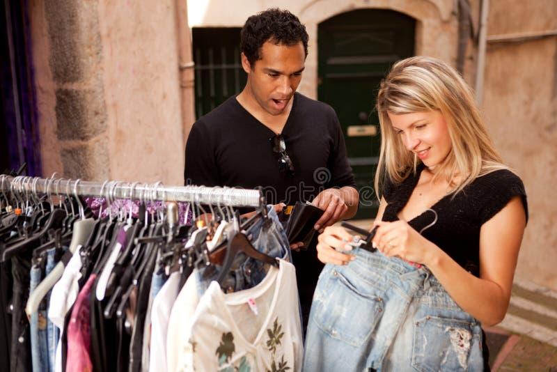 给消耗大的购物穿衣 库存照片