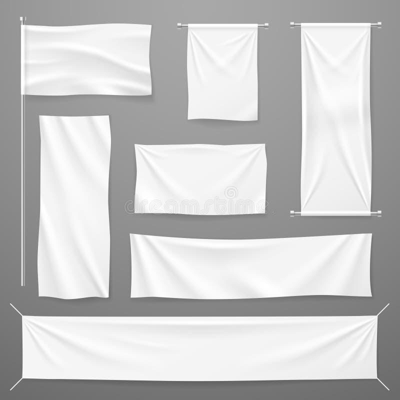 给白色的纺织品横幅做广告 垂悬在绳索的空白的织品布料 被折叠的空的棉花舒展了帆布 向量 库存例证