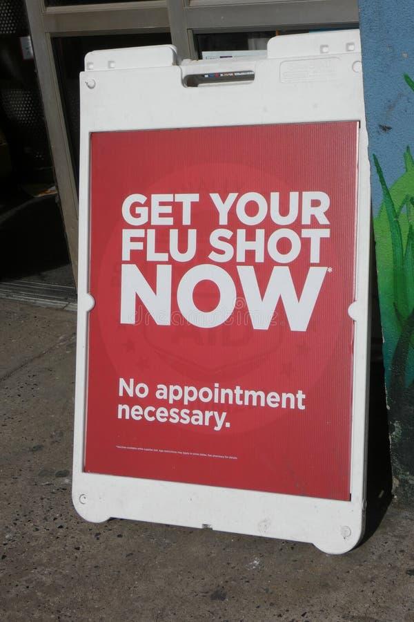 流感预防针标志 免版税图库摄影