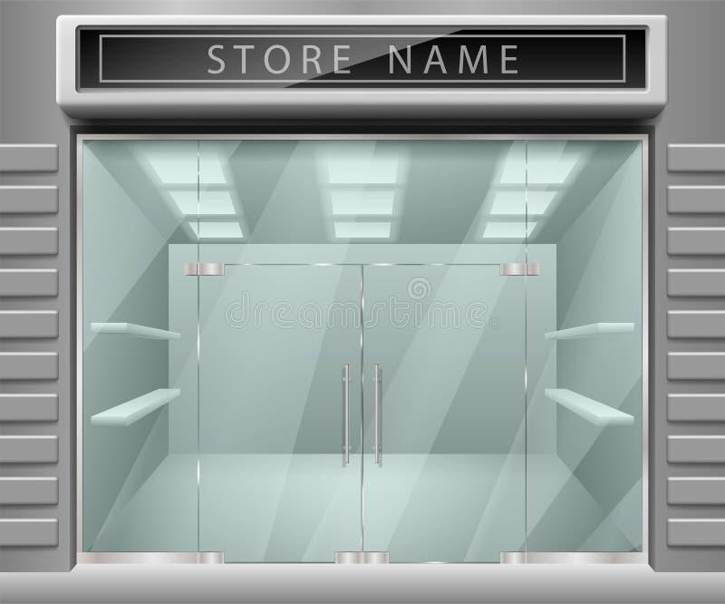 给的3d商店前面门面做广告模板 现实外部水平倒空有架子的商店 空白的大模型  皇族释放例证
