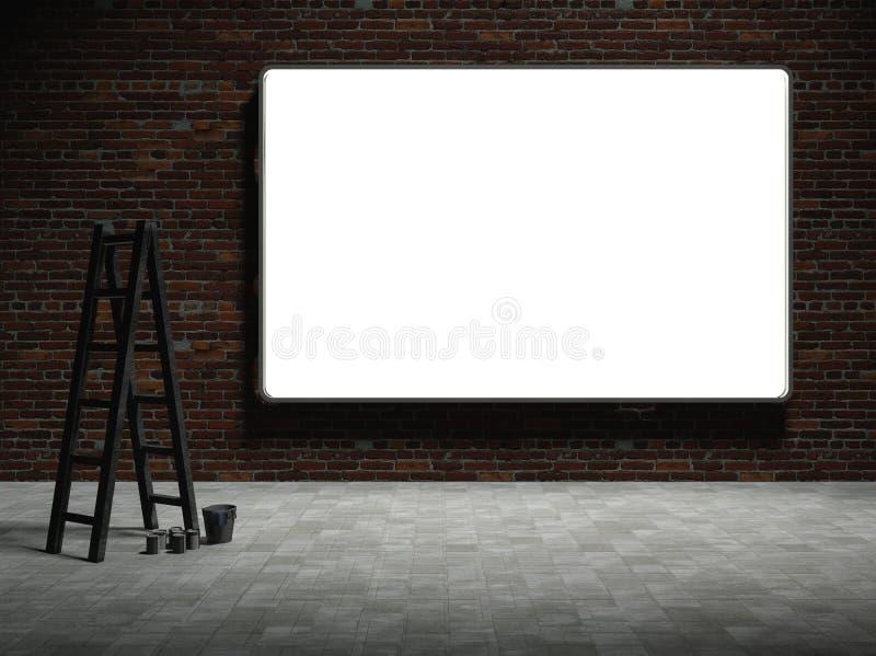 给的3d广告牌空白砖墙做广告 皇族释放例证