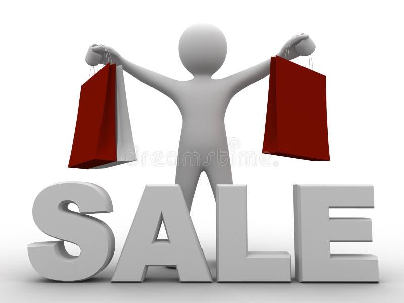 给的3d袋子人销售额购物做广告 库存例证