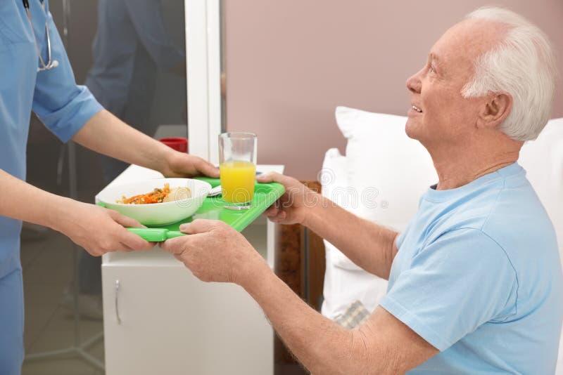 给盘子用食物的护士资深患者在医院病房里 库存图片