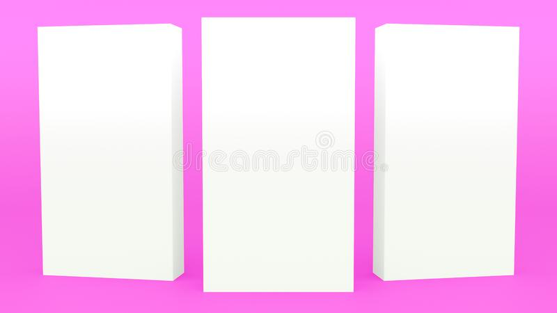 给立场回报现代minimalistic嘲笑的横幅紫色最小的3d做广告,空白的模板,空的陈列室3d回报 库存例证