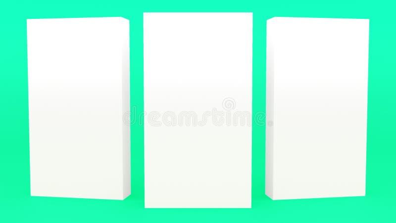 给立场横幅灰色绿色最小的3d翻译现代minimalistic嘲笑做广告,空白的模板,空的陈列室3d回报 向量例证