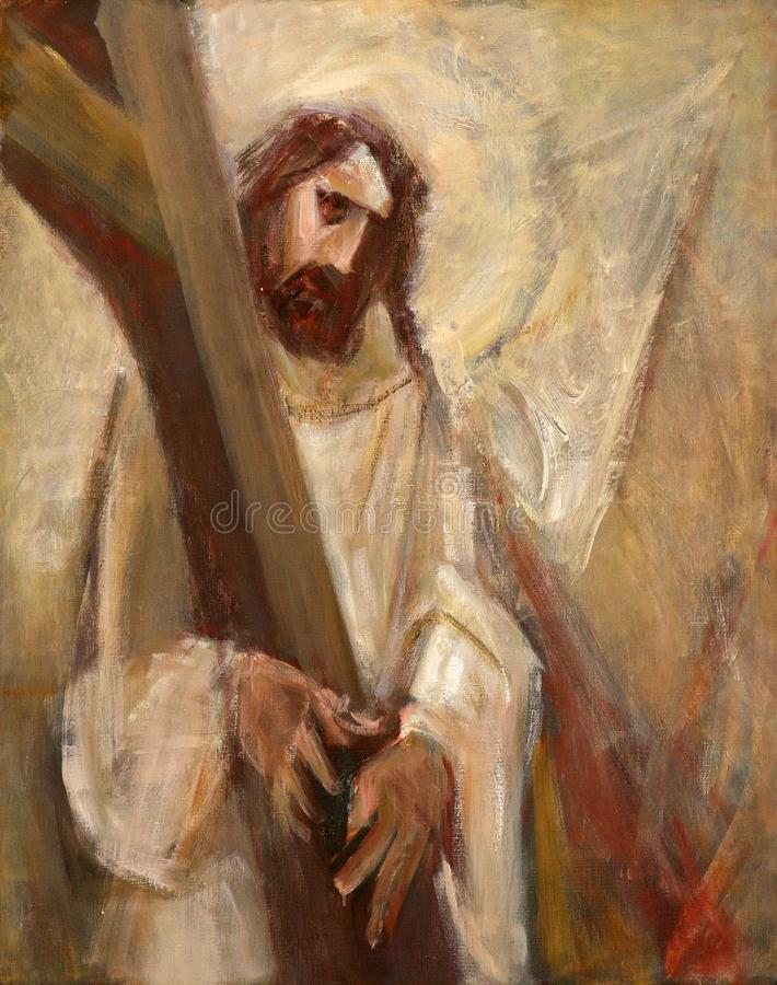 给第2个苦路,耶稣他的十字架 库存照片