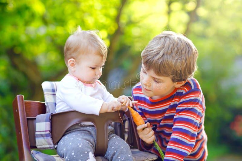 给红萝卜的小白肤金发的孩子男孩小姐妹 吃健康快餐的愉快的兄弟姐妹 坐在摇篮车的女婴或 库存照片