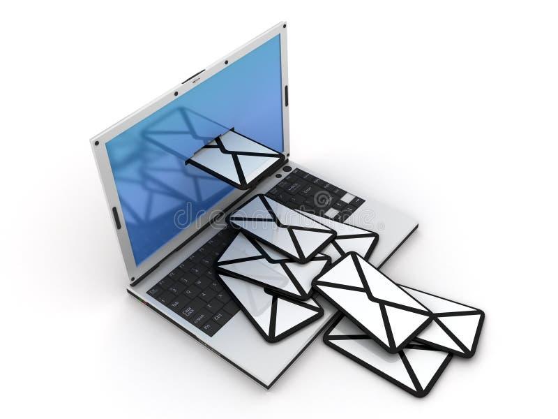 给膝上型计算机发电子邮件 免版税库存照片