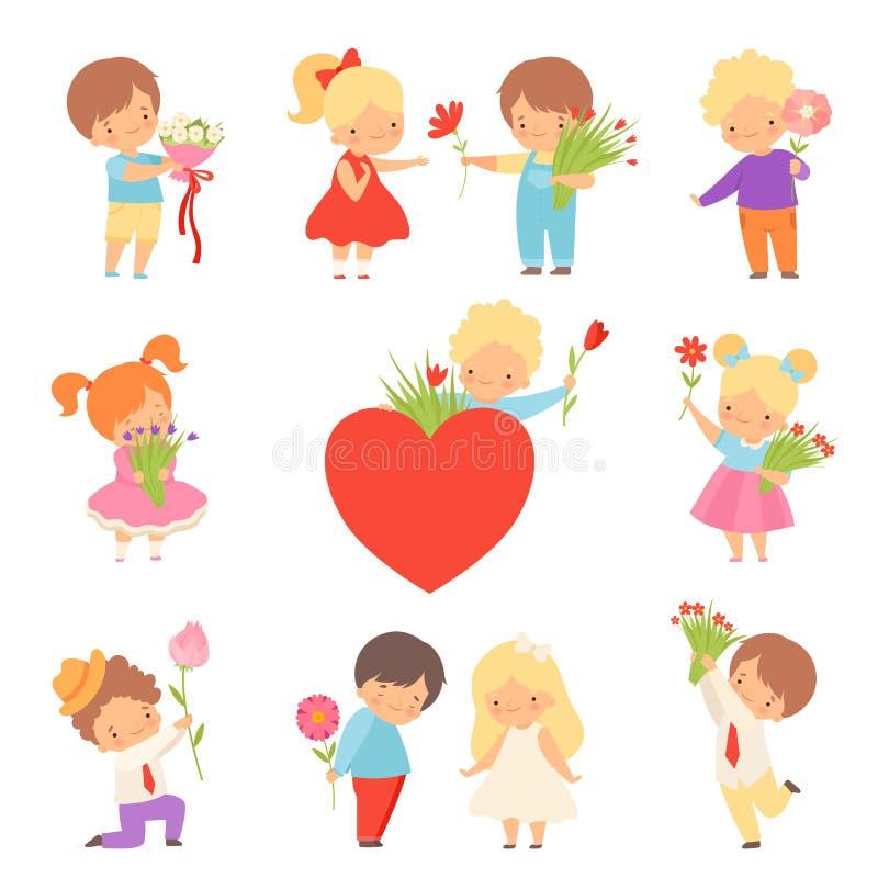 给花的逗人喜爱的男孩的汇集可爱的女孩动画片传染媒介例证 向量例证
