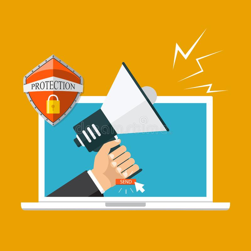 给营销构思设计,传染媒介例证,平的样式发电子邮件 皇族释放例证
