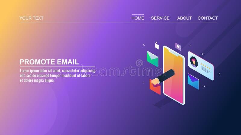 给行销,时事通讯促进,提供信件,流动电子邮件通知,等量设计观念的手发电子邮件 向量例证